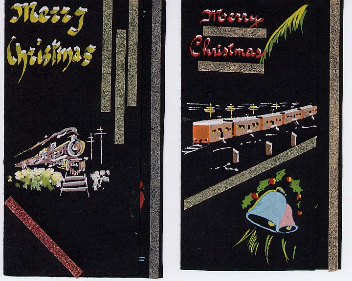 Life went on even on the plains. These Christmas cards were created by an artistic internee railroader with paint, black paper and sandpaper strips. Max Ebel Collection